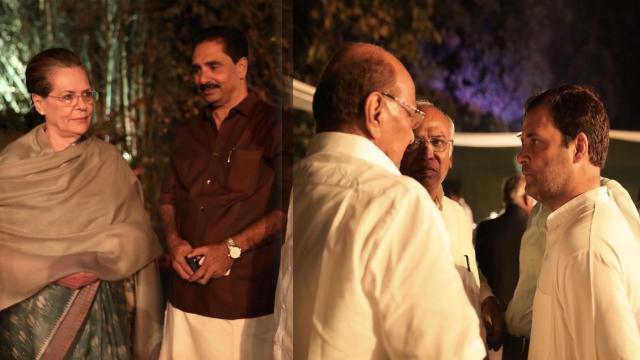 عشائیہ میں موجود راہل گاندھی اور سونیا گاندھی