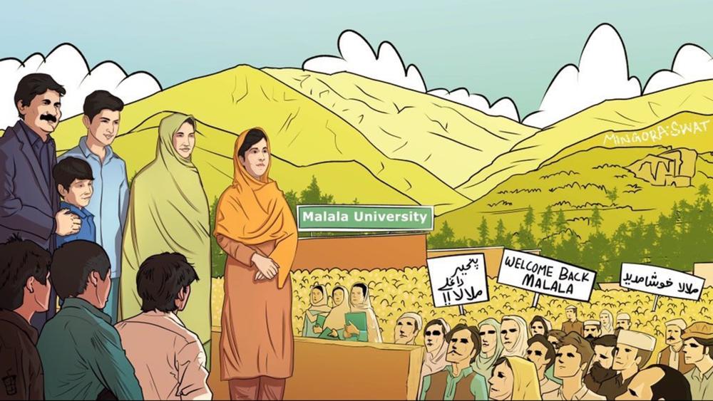 ملالہ یوسف زئی کے پاکستان پہنچنے پر ان کا خیرمقدم کیا جا رہا ہے۔