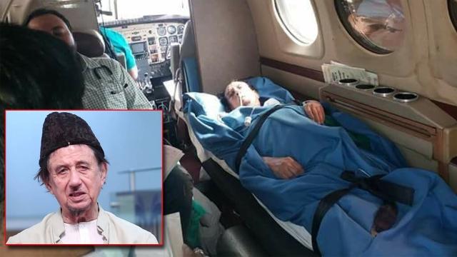 مولانا کلب صادق میدانتا اسپتال کے لئے روانگی کے وقت ایر ایمبولینس میں