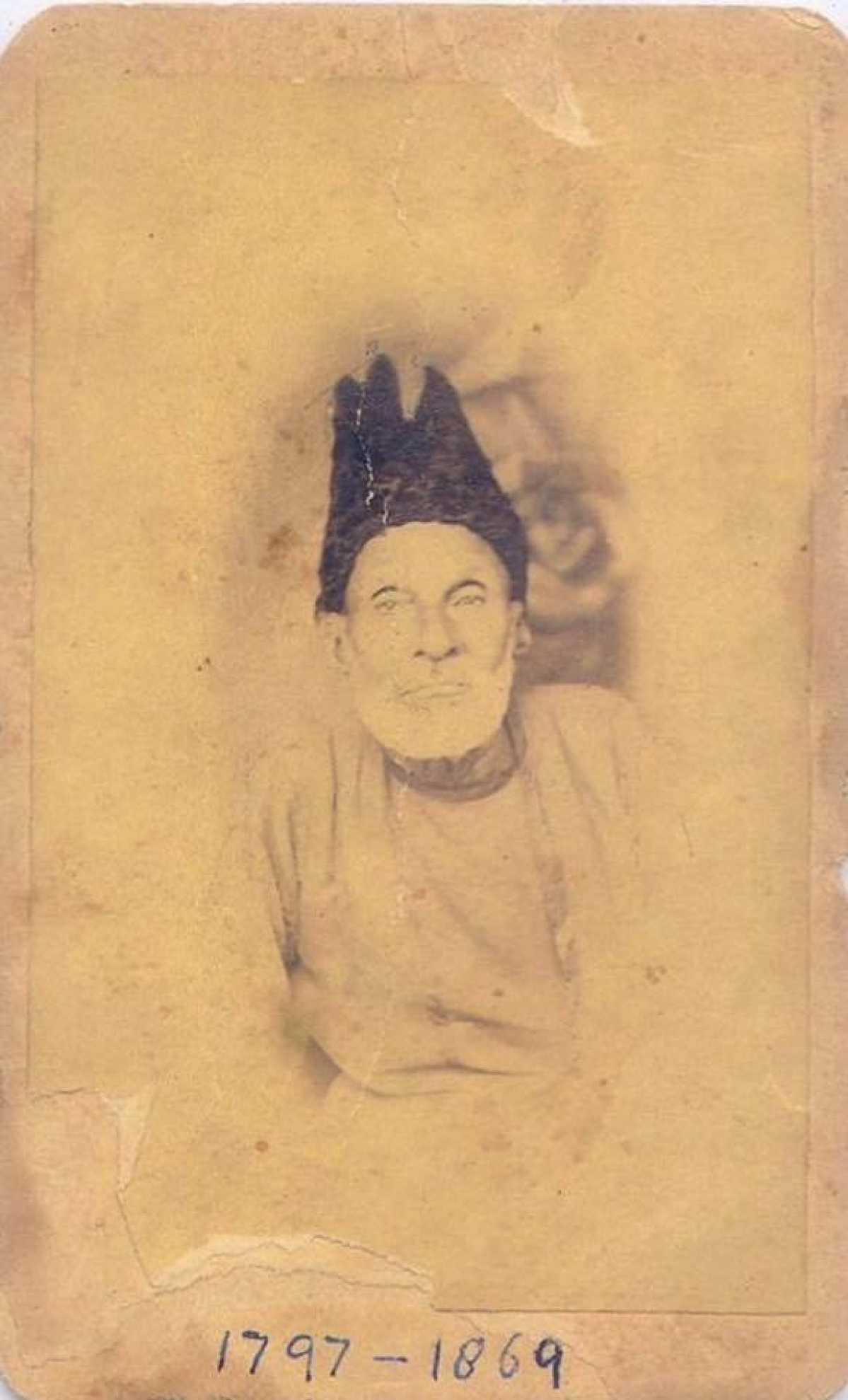 The only known photograph of Ghalib The photo belonged to Mrs. Santosh Mathur, great-granddaughter of Babu Shiv Narain, who was a friend of Ghalib's; it is now in a private collection in Allahabad.