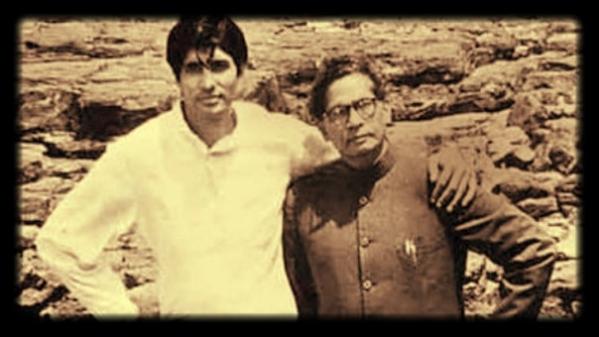 पिता हरिवंश राय बच्चन के साथ अमिताभ बच्चन