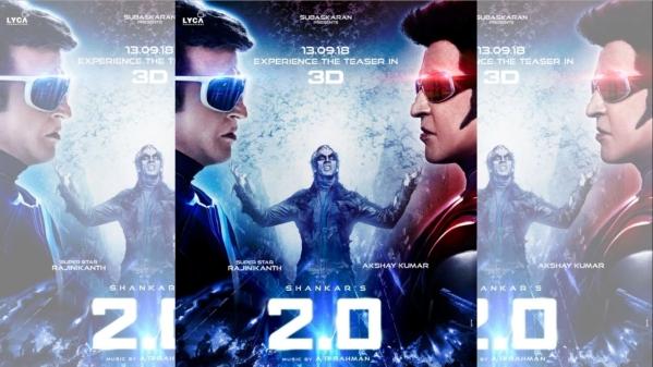 फिल्म '2.0'में सुपरस्टार रजनीकांत, अक्षय कुमार और ऐमी जैक्सन है