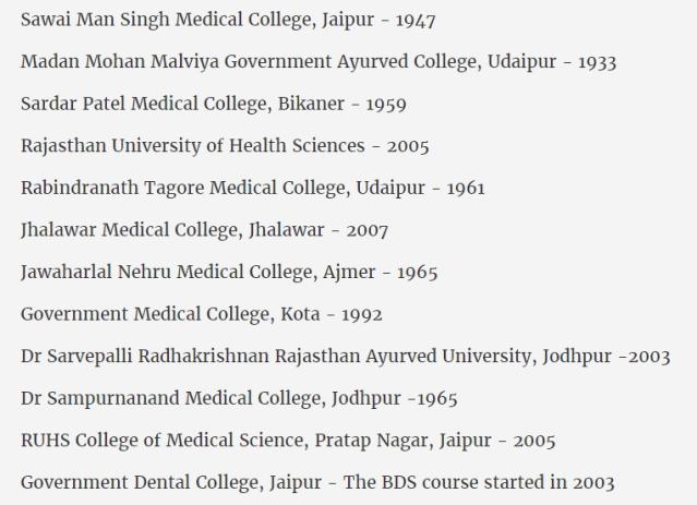 ये उन 13 कॉलेज की लिस्ट है जो वसुंधरा सरकार के सत्ता में आने से पहले के बने हुए हैं.
