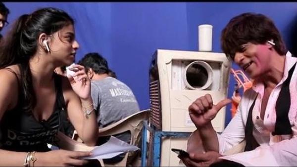 फिल्म जीरो के सेट पर अपनी बेटी सुहाना के साथ शाहरुख खान