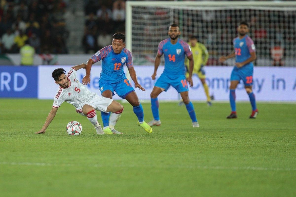 यूएई के खिलाफ मैच के दौरान भारतीय फुटबॉल टीम