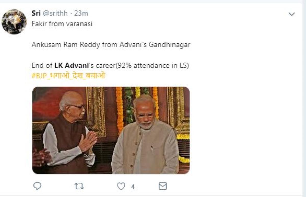 Image result for गांधीनगर से आडवाणी का टिकट कटा, ट्विटर यूजर्स का रहा ये रिएक्शन
