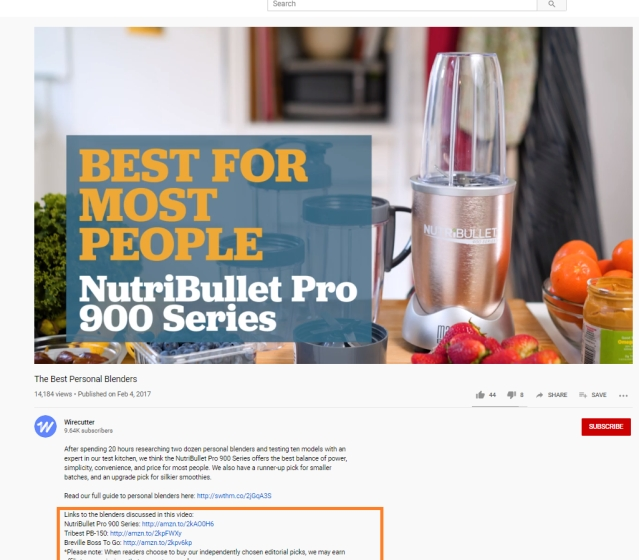 Affiliate marketing on YouTube channel by the wirecutter