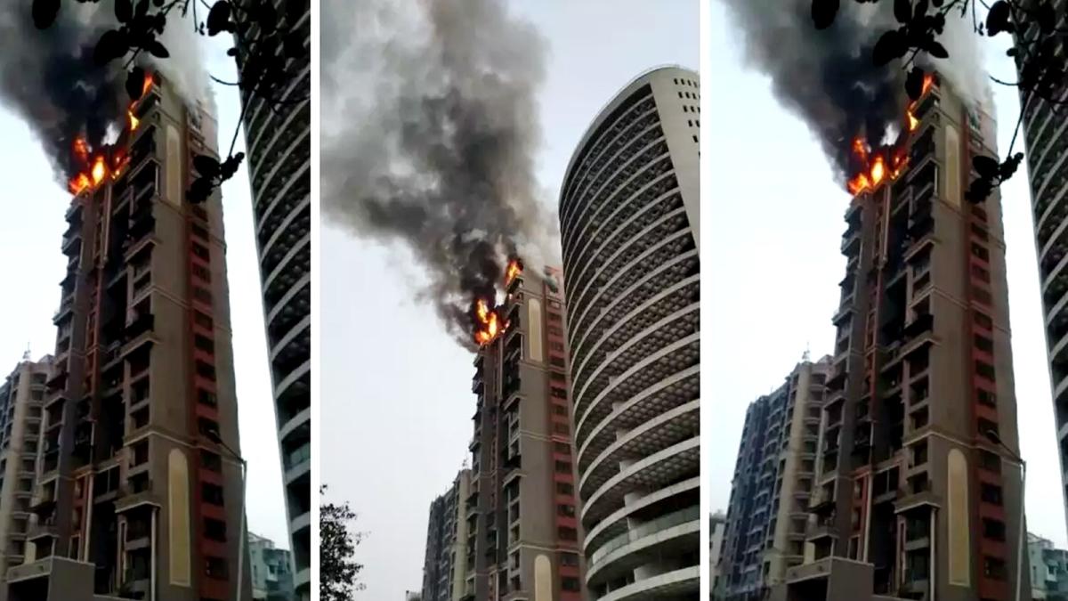 नवी मुंबई के बहुमंजिला इमारत में आग का तांडव