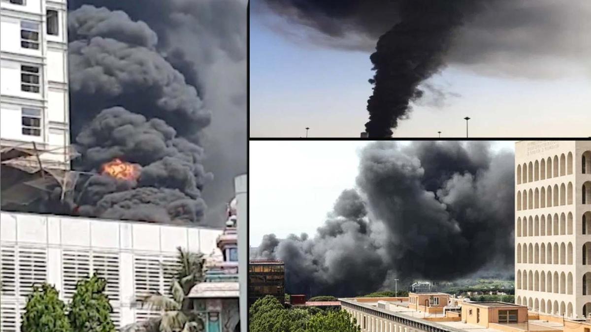 DY पाटिल कॉलेज कैंपस में निर्माणाधीन बिल्डिंग से उठी आग की लपटें