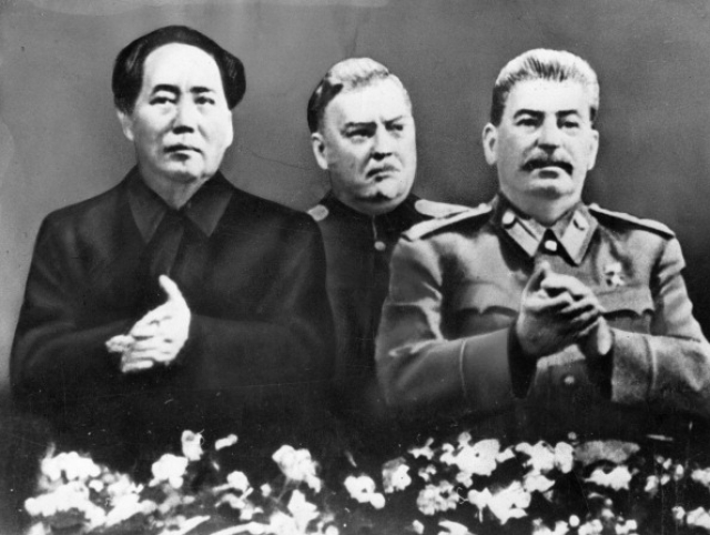 Lleft to right: Mao, Bulganin and Stalin. (Photo by: Sovfoto/UIG via Getty Images)