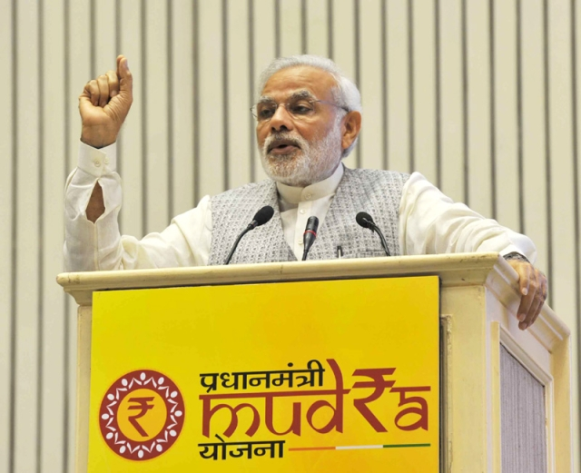 The Prime Minister speaking at the launch of MUDRA.