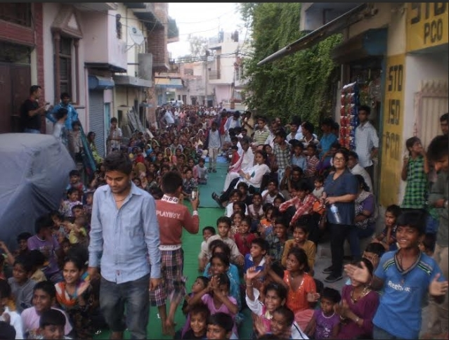 The lane outside Nahar Singh's house filled with Pakistani Hindu children