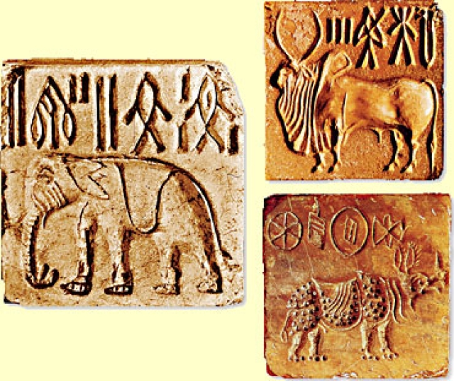 Three different seals from early river valley civilisation. Photo credit: WikiMedia Commons.