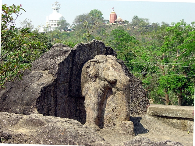 Dhauli rock edict of Ashoka near Bhubaneshwar. Dhauli is located in the  ancient territory of Kalinga which was part of the Mauryan Empire and  part of the important trade routes of the time   Photo credit: WikiMedia Commons.
