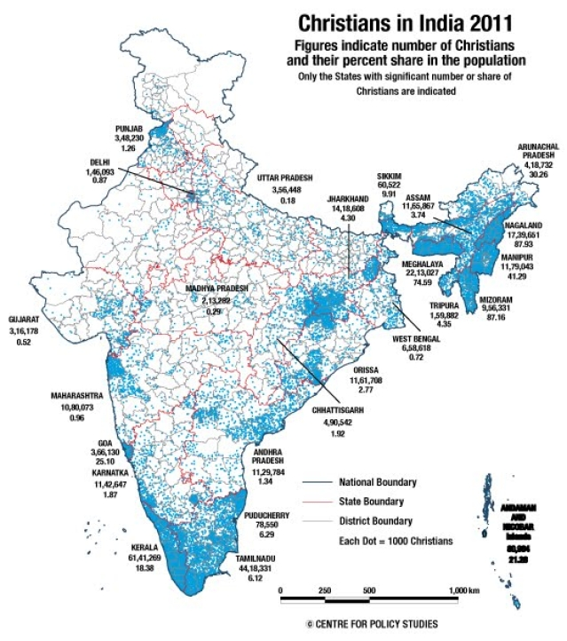 The distribution of Christians in India according to the Census of 2011. (Photo Credit: CPS)