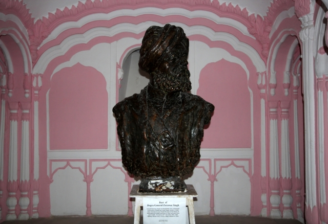 Bust of Dogra general Zorawar Singh, general in army of Maharaja Gulab Singh of J&K, in Dogra Art Museum, Mubarak Mandi, Jammu