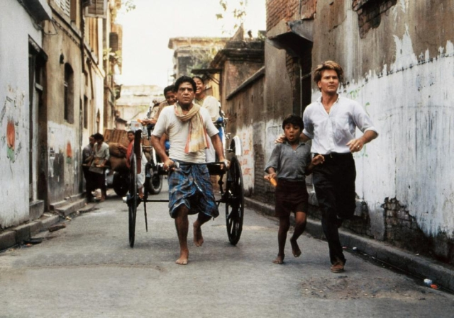 CITY OF JOY, from centre: Om Puri, Imran Badsah Khan, Patrick Swayze, 1992 (©Tri-Star Pictures)