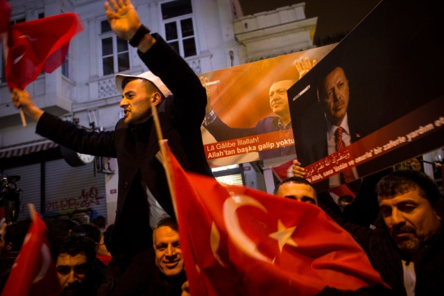 Protests at the Dutch Consulate in Turkey after Turkish Finance Minister is blocked from landing in The Netherlands (Photo Courtesy: Getty Images)