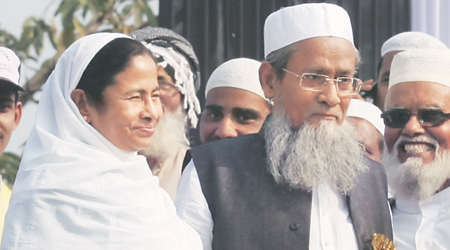 West Bengal CM Mamata Banerjee with Muslim supporters (Representative image)
