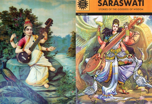 Ravi Varma's Saraswati (L) and Saraswati on the cover of a recent issue of <i>Amar Chitra Katha</i>