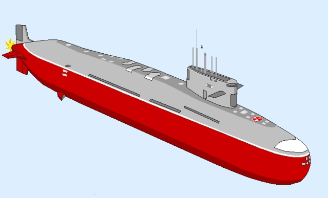 An artist's impression of an <i>Arihant</i>-class submarine.  &nbsp;