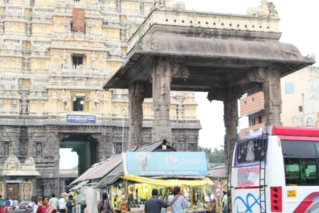 Mandapam outside the Ekambareshwar temple which has turned into a shopping area with kiosks