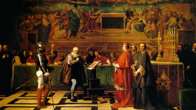 A later day painting depicting Galileo before Catholic Inquisition.