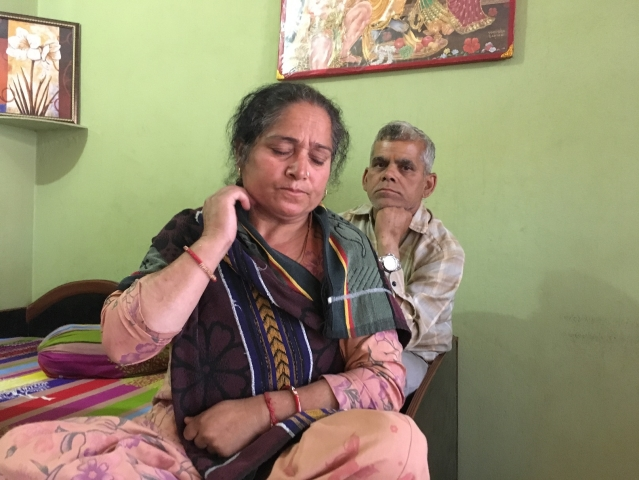 Tripta Devi and Om Prakash Sangra, parents of the accused juvenile boy, in their house in Hiranagar