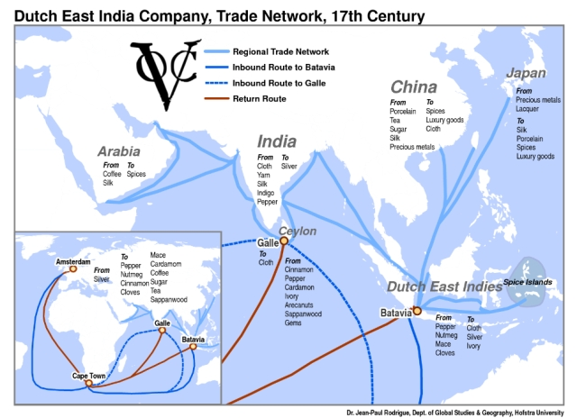 Trade routes of the Dutch East India Company (Jean-Paul Rodrigue, Professor, Hofstra University)