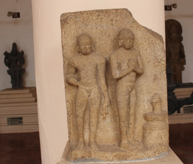 Buddhist monks worshiping Linga-like structure, eighth century, Thanjavur museum: worship of the fiery column in Buddhist iconography is derived from Vedic Agni-Rudra-Skambha motif.