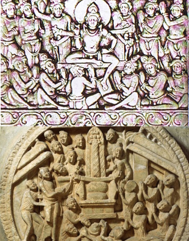 Svetakethu, top, declares to <i>devas </i>his intention to be born as Buddha; (below) Buddha worshiped as a fiery pillar – related to <i>Vedic Agni</i>.