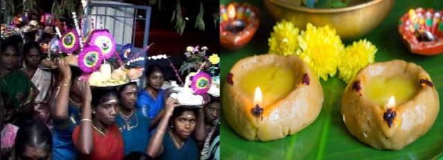 Mavilakku or the lamp of sweetened flour lit for the goddess: a tradition in Tamil Nadu.
