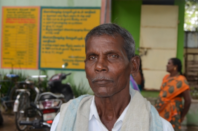 Farmer Duraikannu at Vellore regulated market, where he finds e-trading beneficial, with the need for commission agents having been eliminated.