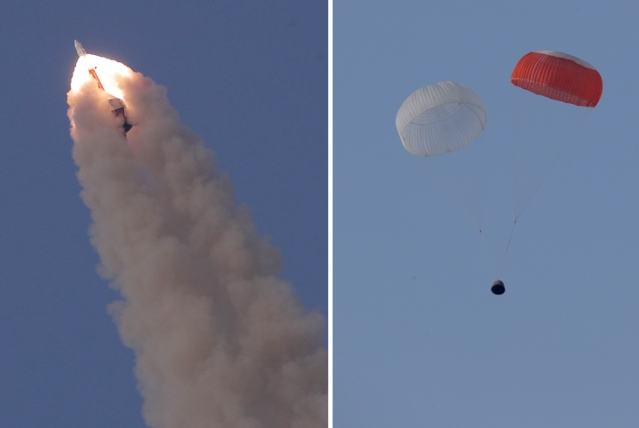 Flight test of the crew escape system by ISRO on 5 July 2018. Crew Escape System along with crew module soared skyward, and then floated back to Earth under its parachutes about 2.9 km from Sriharikota.