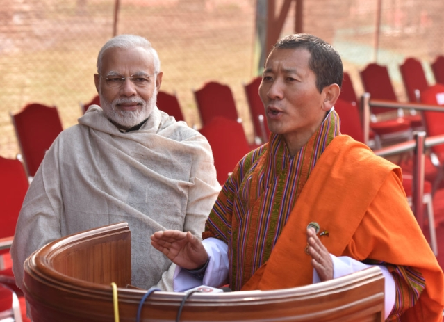 Prime Minister Narendra Modi with Bhutan Prime Minister Lotay Tshering. (Sanjeev Verma/Hindustan Times via Getty Images)