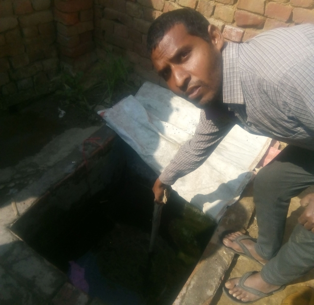 Yogendra showing the cement tank (<i>Swarajya</i>)