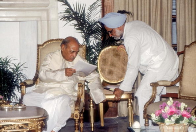 PV Narasimha Rao, Prime Minister with Manmohan Singh (Prashant Panjiar/The India Today Group/Getty Images)