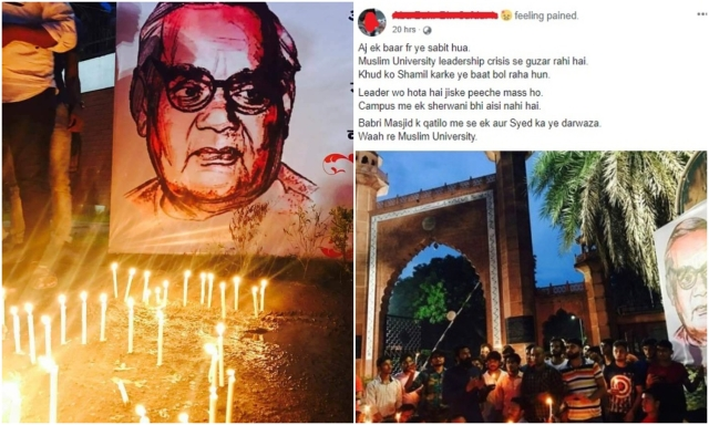 Stduents paying homage to Vajpayee. (Right) A FB post on it