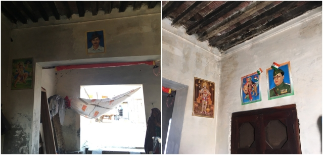 Pictures of Human, Bhagat Singh and Bharat Mata at the entrance of Ali's house.