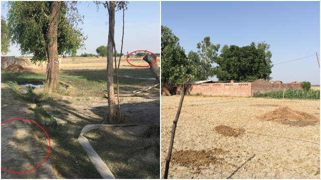 (Left) Distance between Vinay's cot and the under-construction farm house. (Right) A closer look of the building.