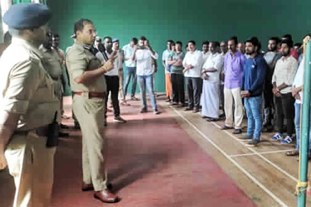 Mangaluru City Police Commissioner Sandeep Patil at a parade to identify cow smugglers. (Pic by Manju Neereshwallya)