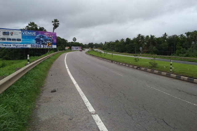 A National Highway in Udupi district, minus service roads. This is a violation of Indian Road Congress rules, say experts.