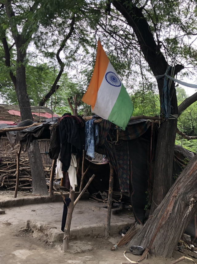 The Indian tricolour at the camp.