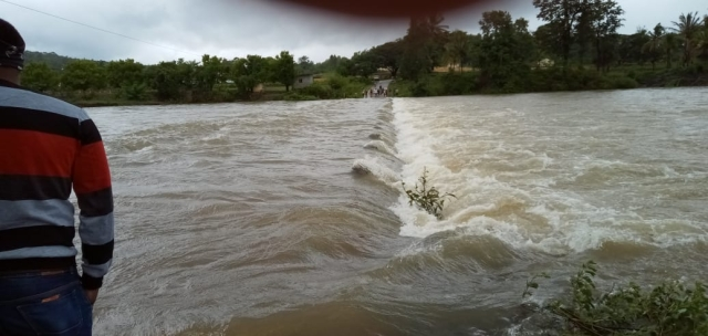 The Bethri bridge submerged.