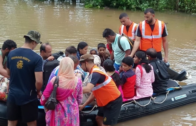 Navy rescuing stranded flood victims in Uttara Kannada