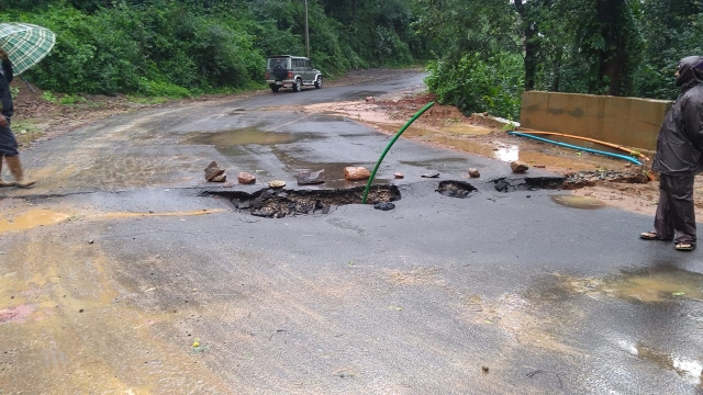 A road in Hattihole partially caved in.