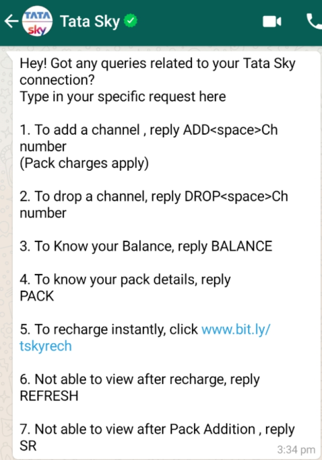 Managing Tata Sky Account Becomes Much Easier As Dth Operator Expands Whatsapp Help Service