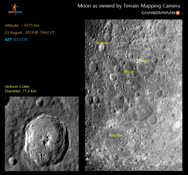 Lunar surface imaged by Terrain Mapping Camera on 23 August 2019 showing impact craters such as Jackson, Mitra, Mach and Korolev.