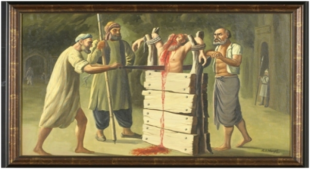 Bhai Mati Das being sawed from head to torso on Aurangzeb'sorders. Image courtesy: https://rsdhanjal.wordpress.com/sikh-religious-oil-paintings-masterpieces/bhai-mati-dass-jee-2x3ft-antique-wooden-frame/)