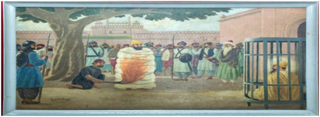 Bhai Sati Das being burned to death on Aurangzeb's orders. Image courtesy: Museums of India, https://www.museumsofindia.org/museum/364/bhai-mati-das-sati-das-museum